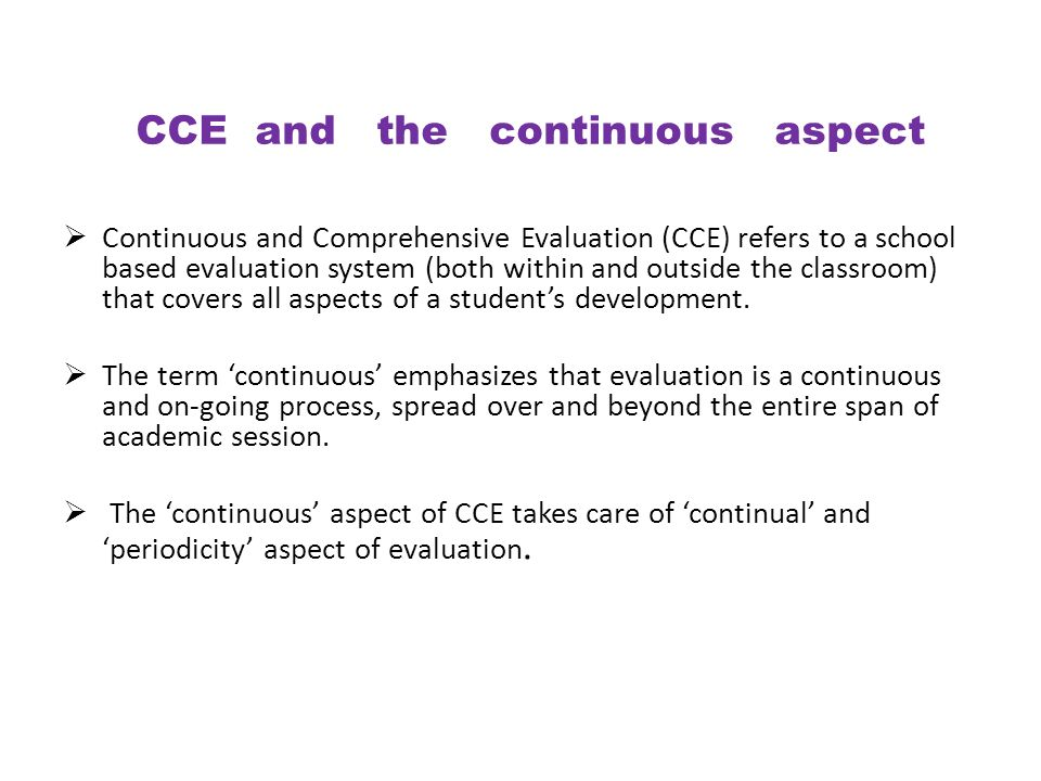 CCE and the continuous aspect