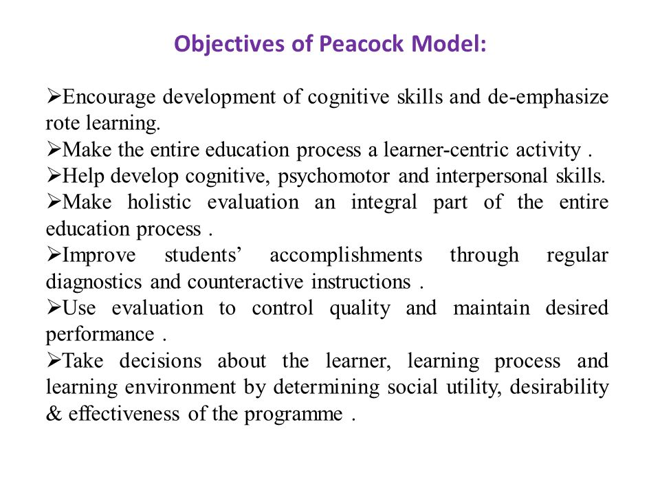Objectives of Peacock Model: