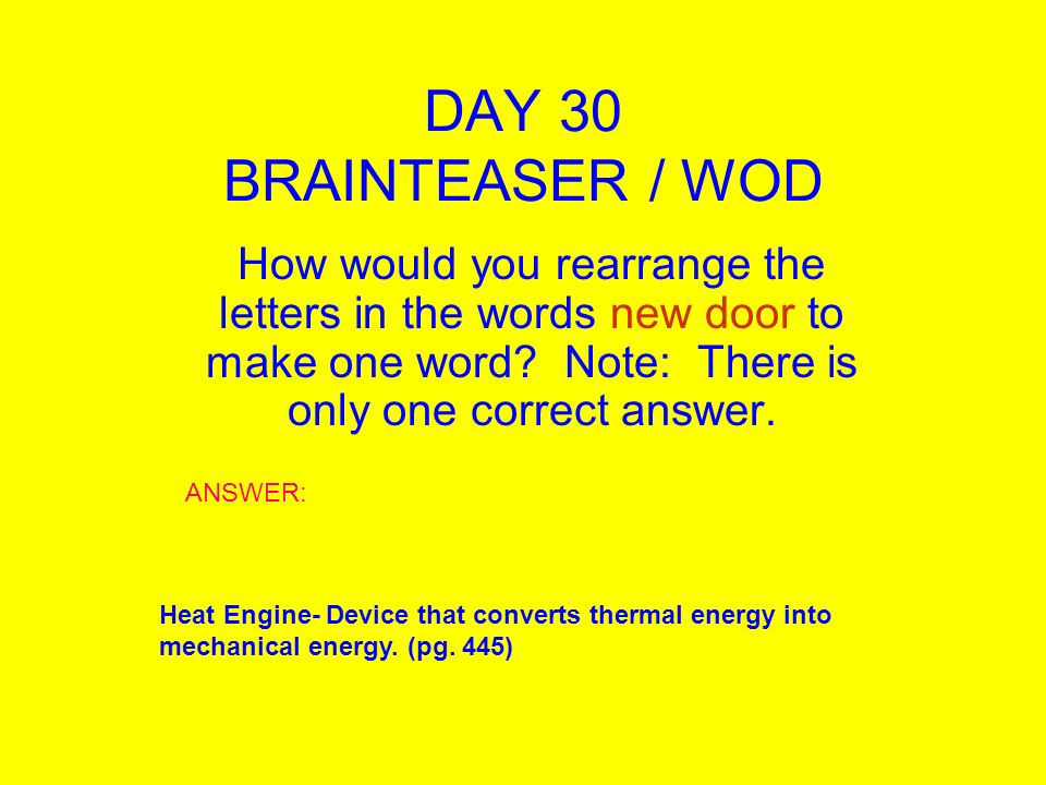 DAY 1 BRAINTEASER WOD A 30 Year Old Man Married A 25