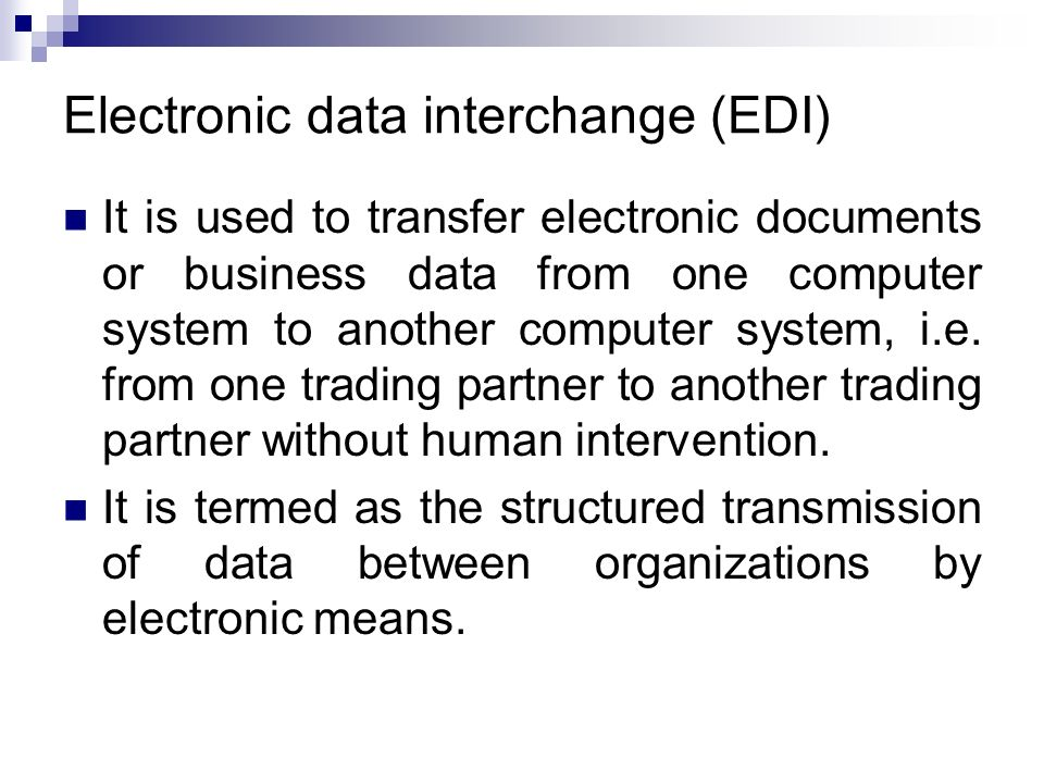 what is the difference between a electronic data interchange and a electronic funds transfer Electronic data interchange (edi)  real-time, electronic transfer of funds between two financial institutions using the communication network of the federal.
