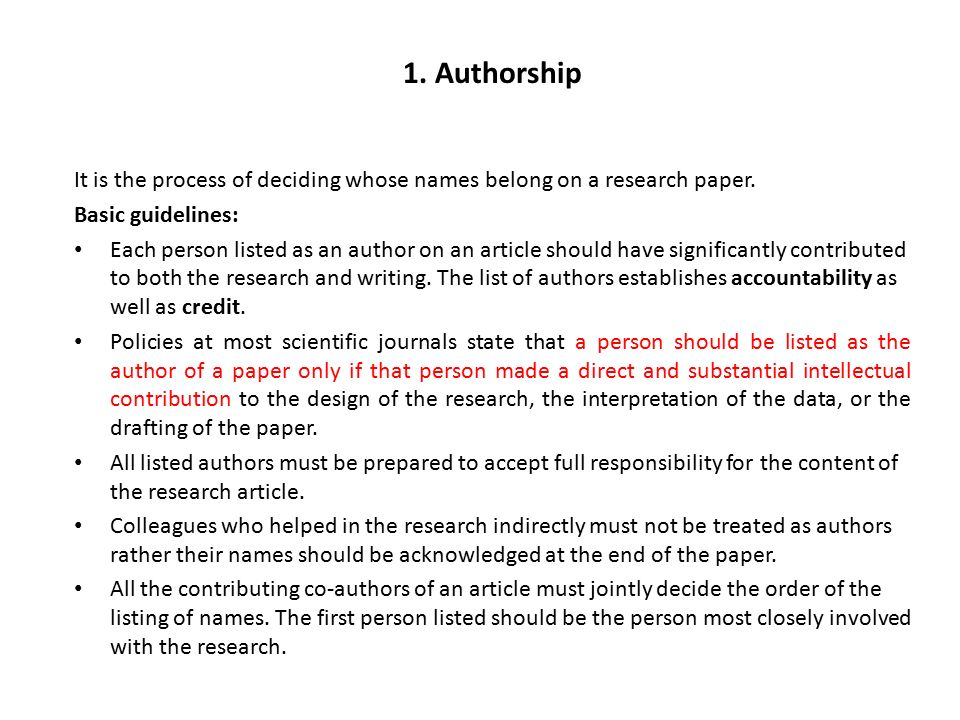 Author order research paper