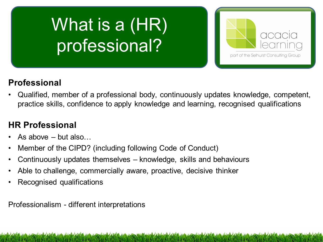 Developing Professional Practice in Hrd