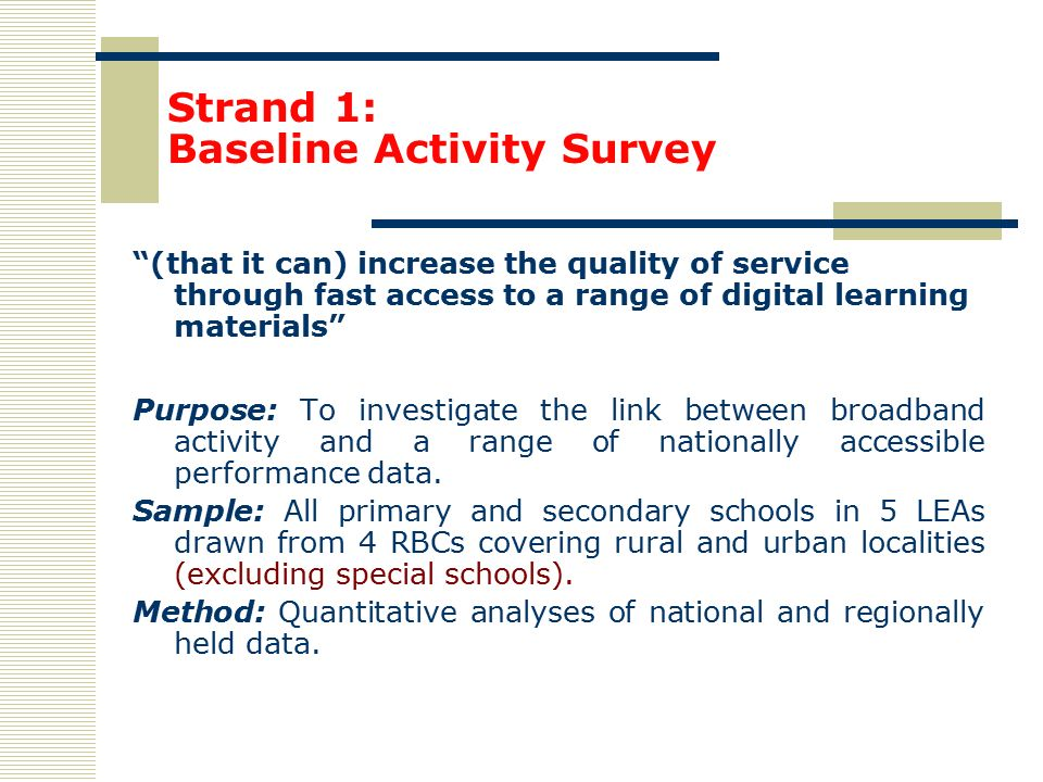 Baseline survey methodology