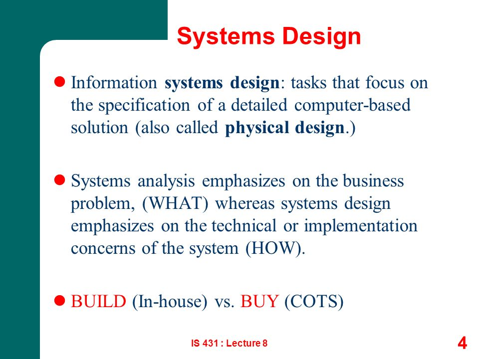 Information System Analysis Design And Implementation