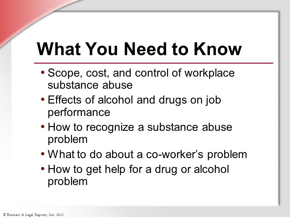 the effects of substance abuse in the workplace