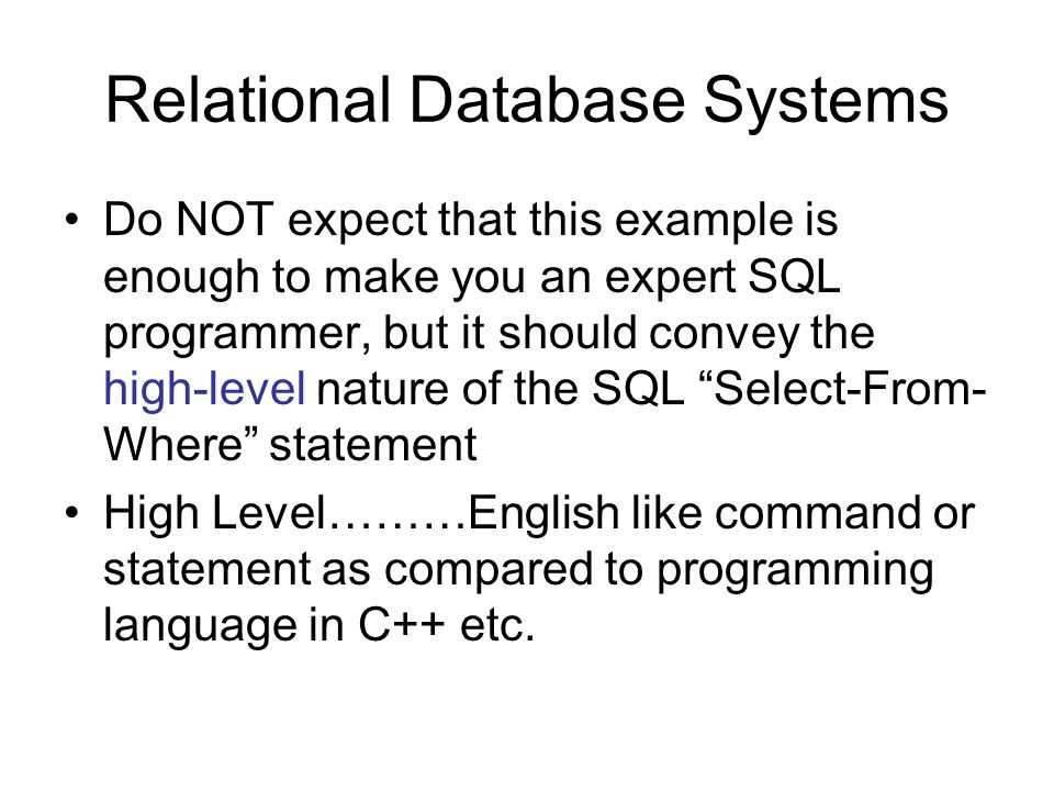 10 relational database systems - Sql Programmer