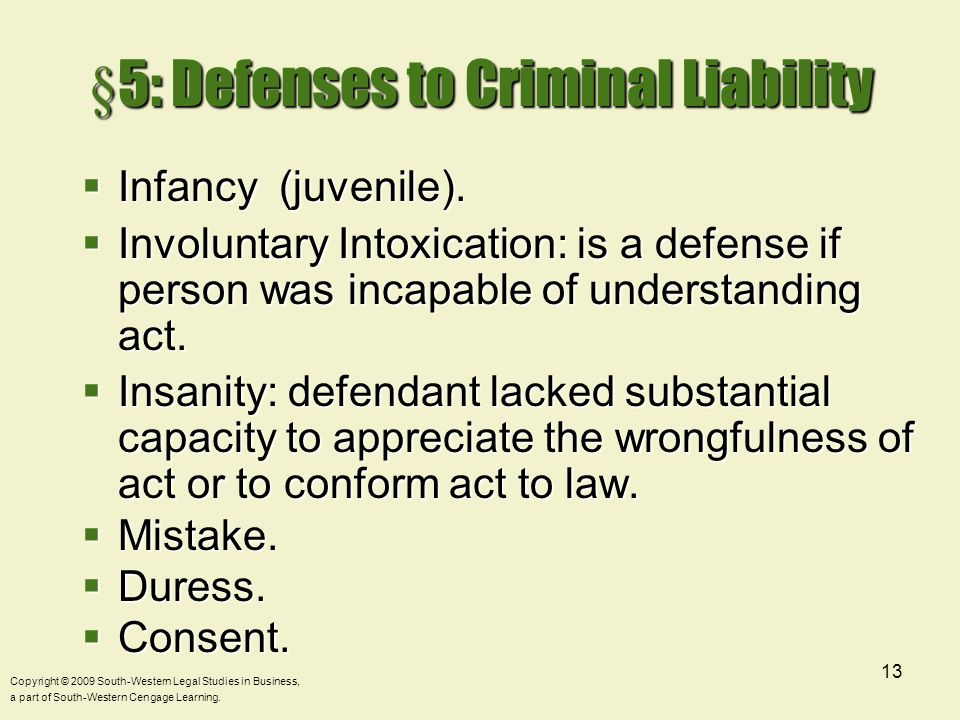 §5: Defenses to Criminal Liability