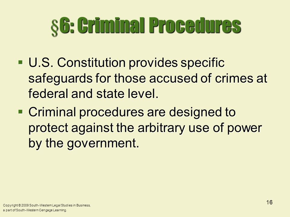 §6: Criminal Procedures