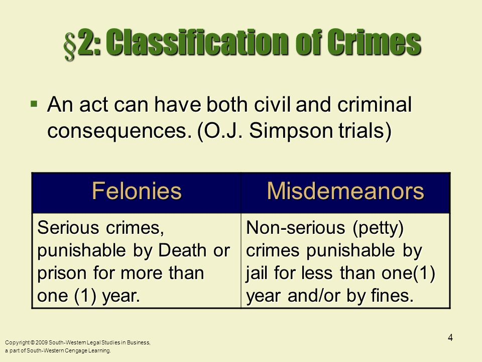 §2: Classification of Crimes