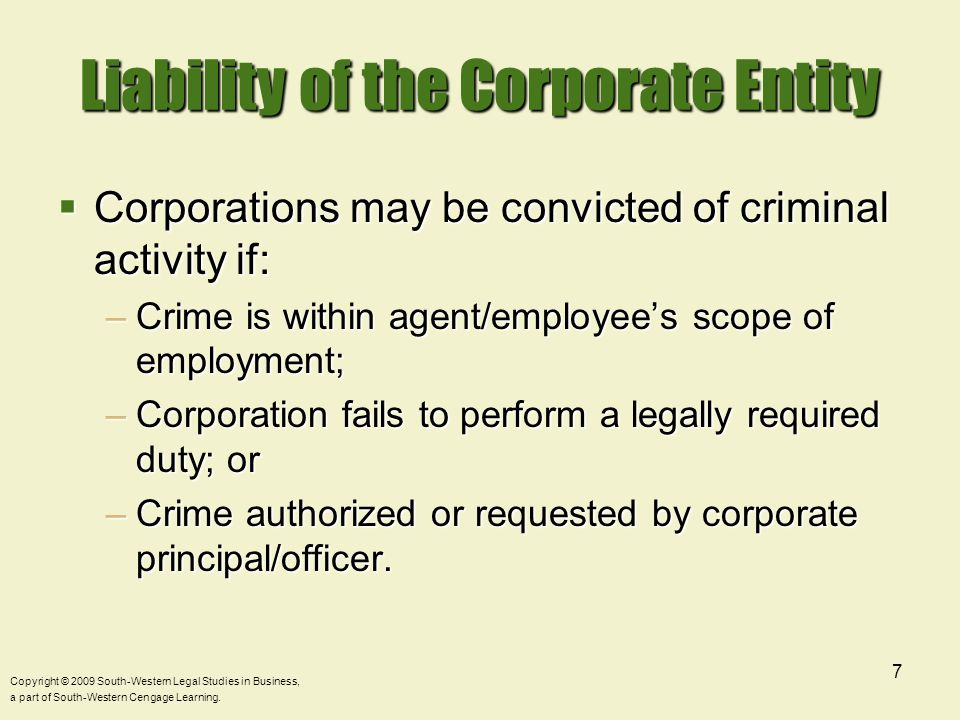 Liability of the Corporate Entity