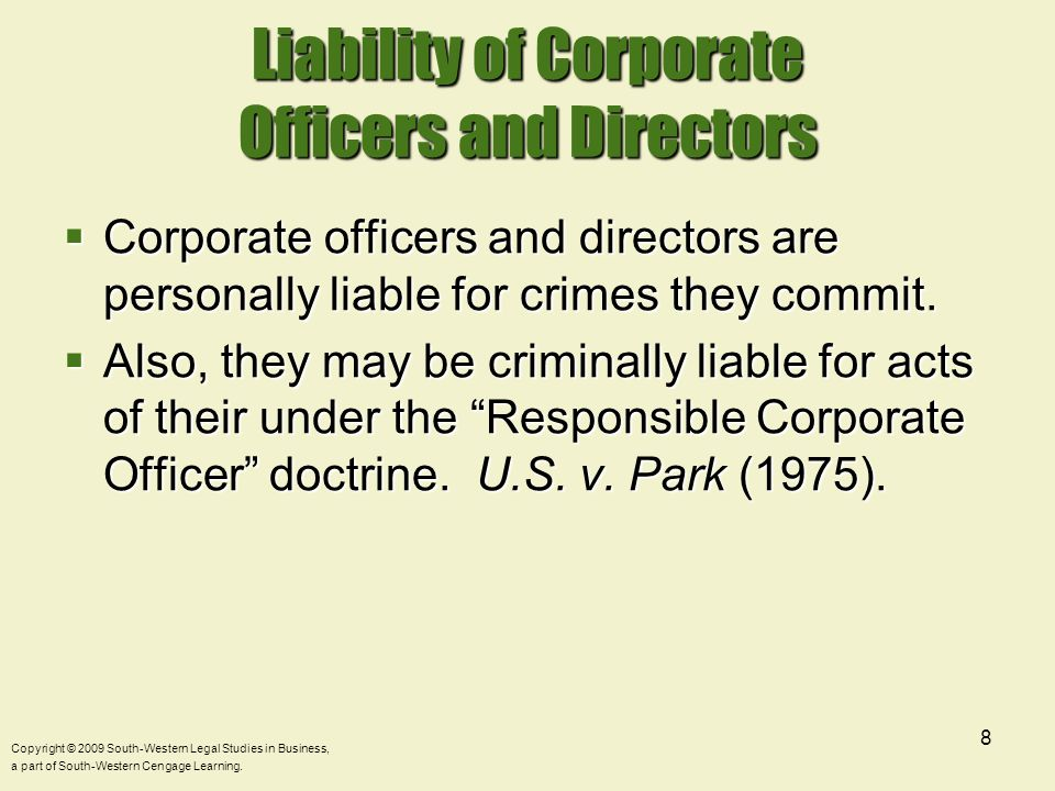Liability of Corporate Officers and Directors