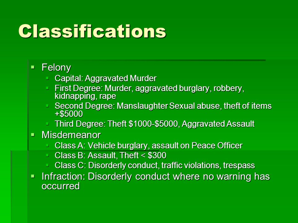Classifications Felony Misdemeanor