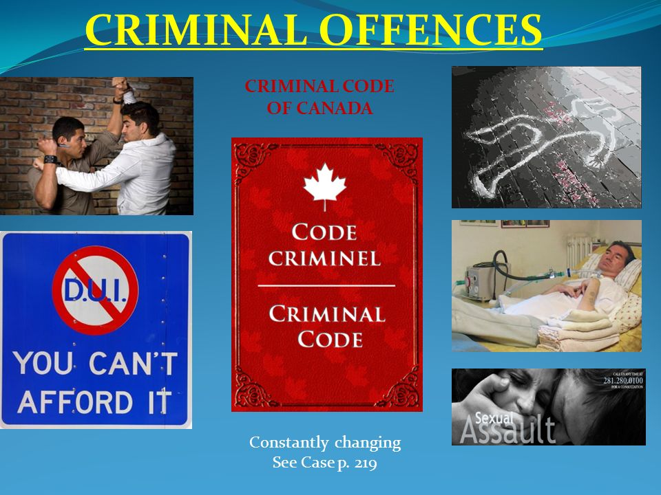 CRIMINAL OFFENCES CRIMINAL CODE OF CANADA Constantly changing ...