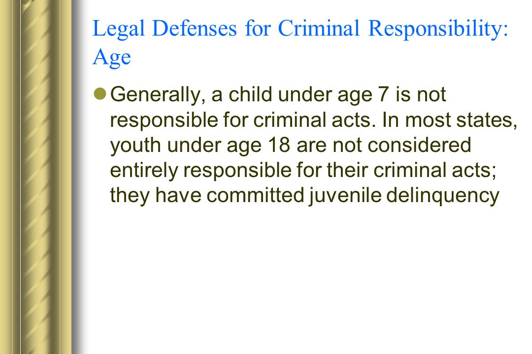 "an introduction to the age set for criminal responsibility Introduction this article argues that the age of criminal responsibility in new  zealand, 10 years of age, is too low, and that new zealand  in new zealand,  criminal liability is set out in the crimes act 1961 (""crimes act""."