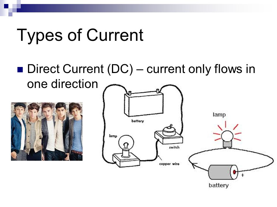 Types of Current Direct Current (DC) – current only flows in one direction