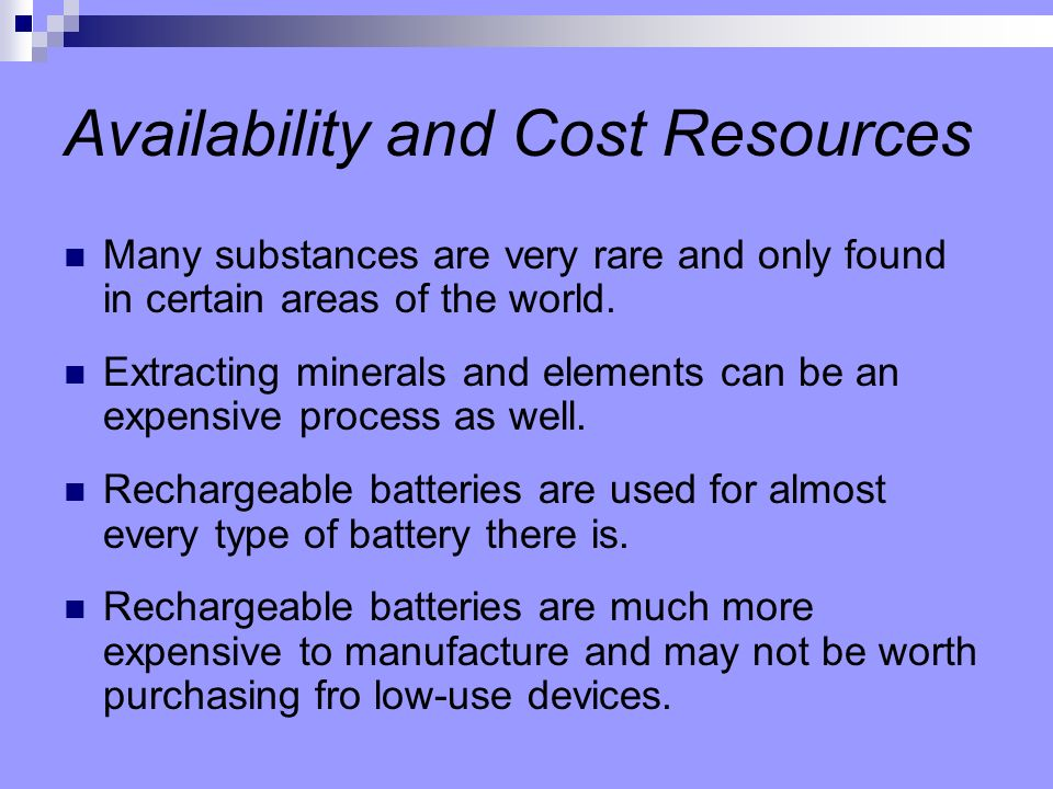 Availability and Cost Resources