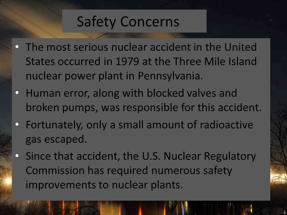 an analysis of the three mile island nuclear power plant accident in united states A malfunction at the three mile island nuclear power plant caused part of the core to melt in the number two reactor  company had released radioactive steam from the plant after the accident .