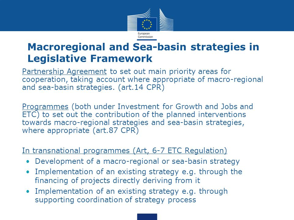Macroregional and Sea-basin strategies in Legislative Framework