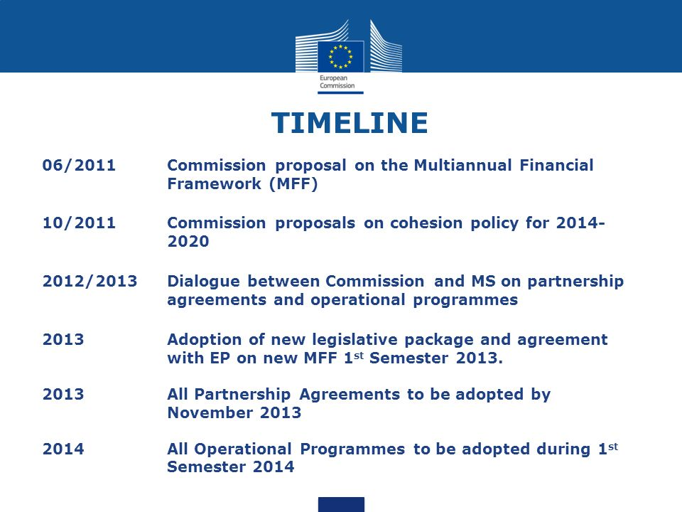TIMELINE 06/2011. Commission proposal on the Multiannual Financial Framework (MFF) 10/2011. Commission proposals on cohesion policy for
