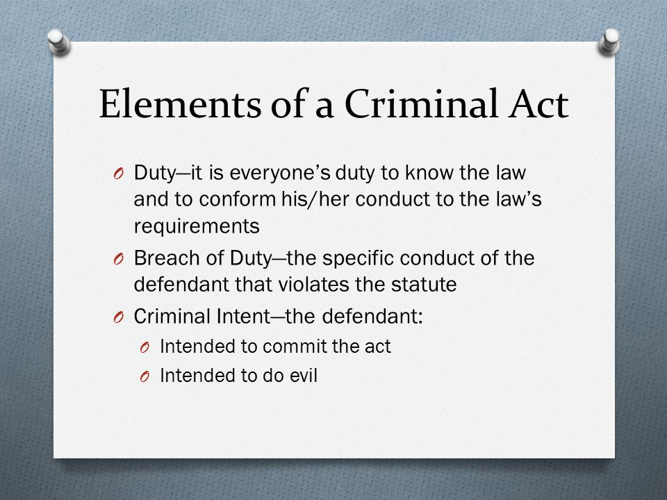 The three elements in the concept of criminal law