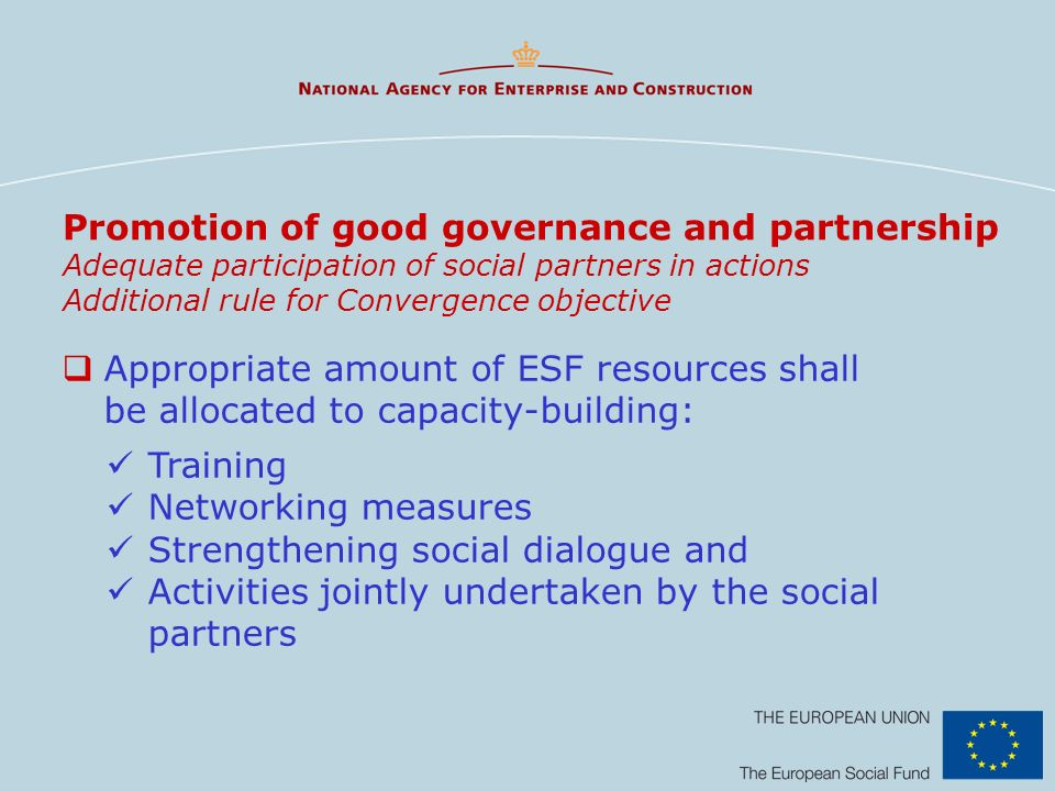 Promotion of good governance and partnership Adequate participation of social partners in actions Additional rule for Convergence objective