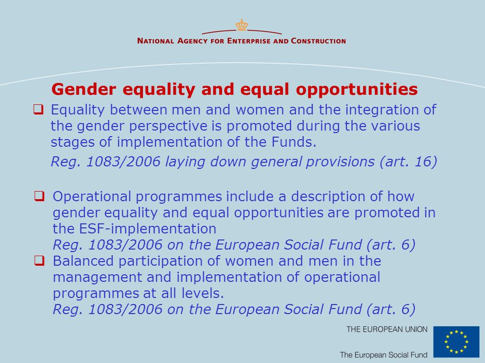Gender equality and equal opportunities