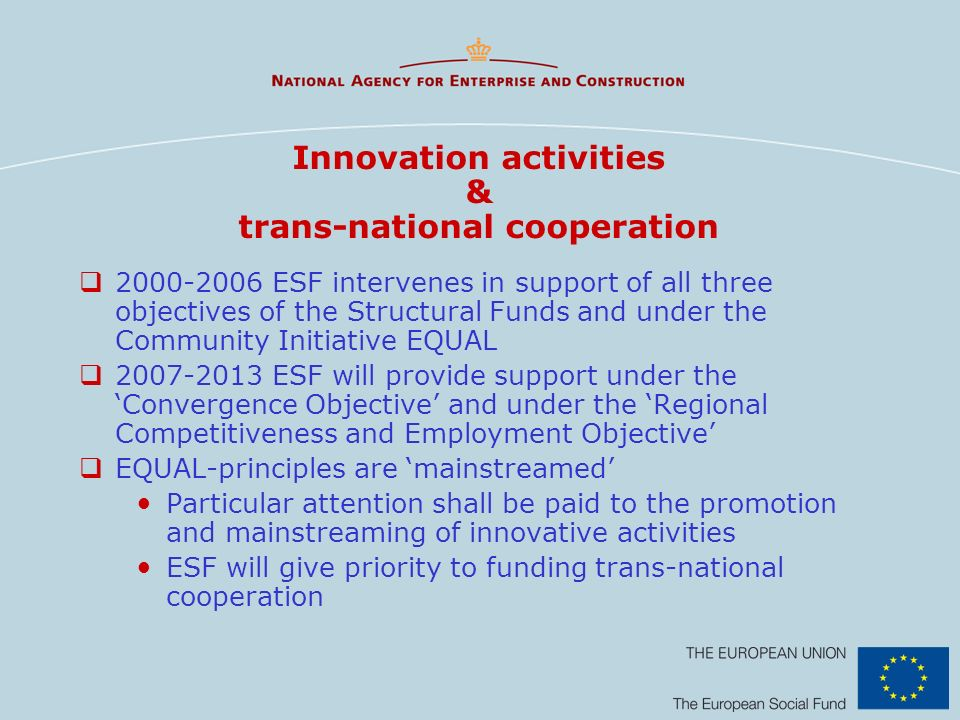 Innovation activities & trans-national cooperation