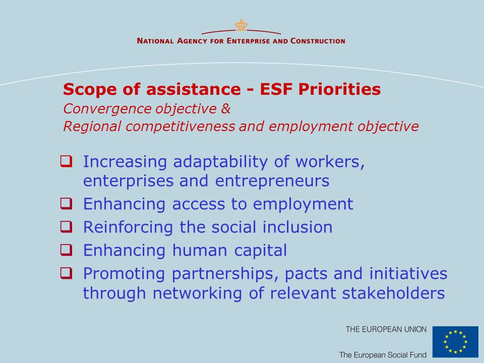 Scope of assistance - ESF Priorities Convergence objective & Regional competitiveness and employment objective