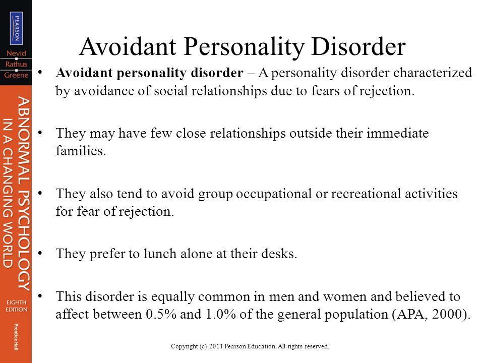 an introduction and an analysis of the avoidant personality disorder Personality disorders introduction although the most common etiologies for personality disorders are multifactorial, these conditions may also be secondary to biologic, developmental, or genetic abnormalitiesstressful situations may often result in decompensation, revealing a previously unrecognized personality disorder.