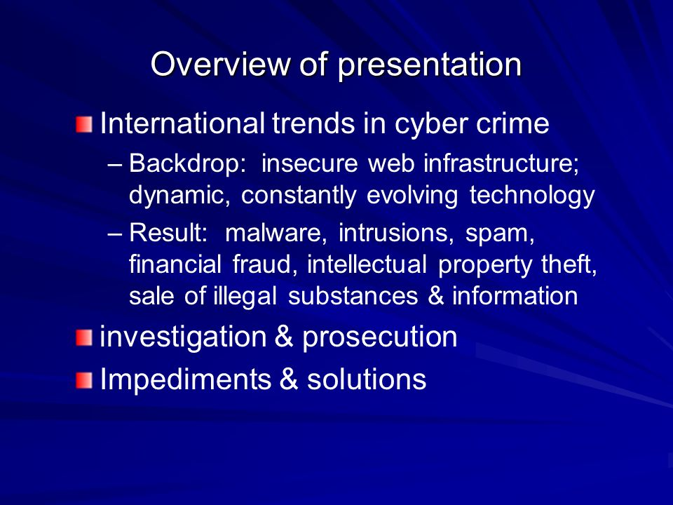 an overview of computer crimes Findings from 2002 computer crime and security survey show an upward trend  that  in this paper, we provide an overview of cybercrime and present an.