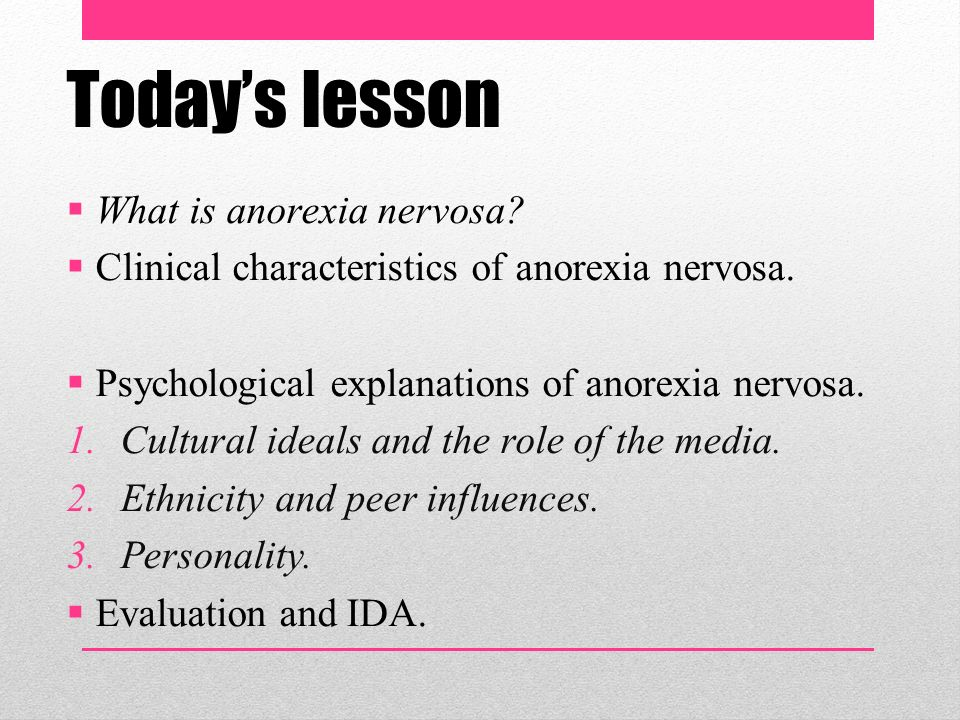 psychological explanations of anorexia Home a2 module 4  anorexia and bulimia nervosa: explanations  explanations explanations of anorexia  found that people who were having psychological.