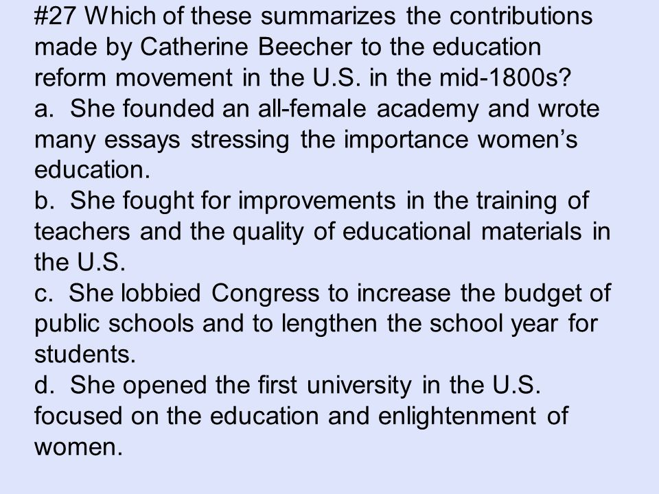 education in the 1800s essay American education -- especially public education -- is a highly regulated and political industry when speaking of problems in american education, teachers' unions are often tagged as the main .