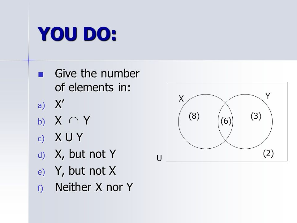 Venn diagrams numbers in each region ppt video online download you do give the number of elements in x x y x u y x but not ccuart Image collections