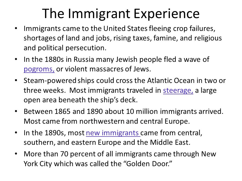 an overview of the immigrant experience in the united states Us student population due to growing and diverse flows of immigrants the  follow- ing provides an overview of the transformation of the united states into a.