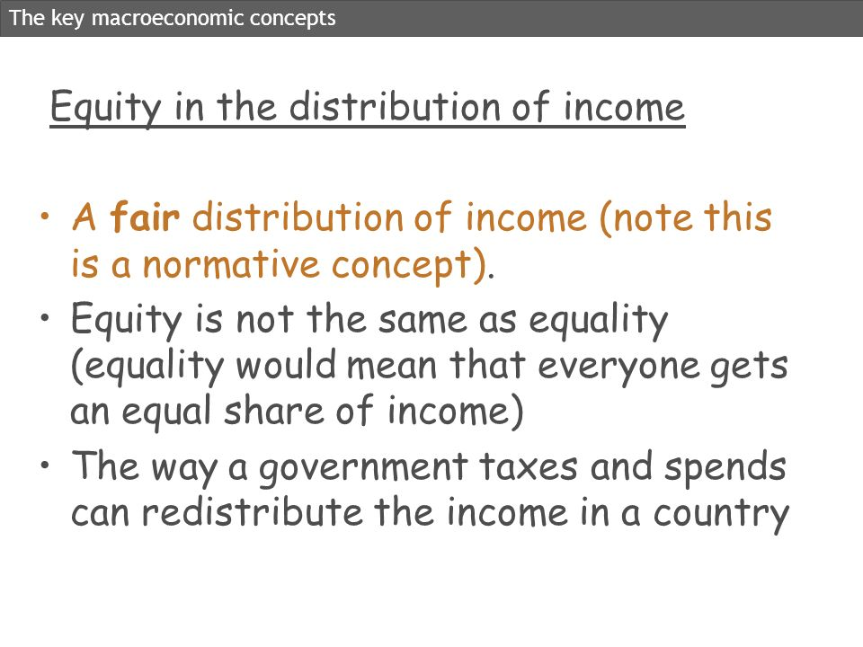 Equity in the distribution of income