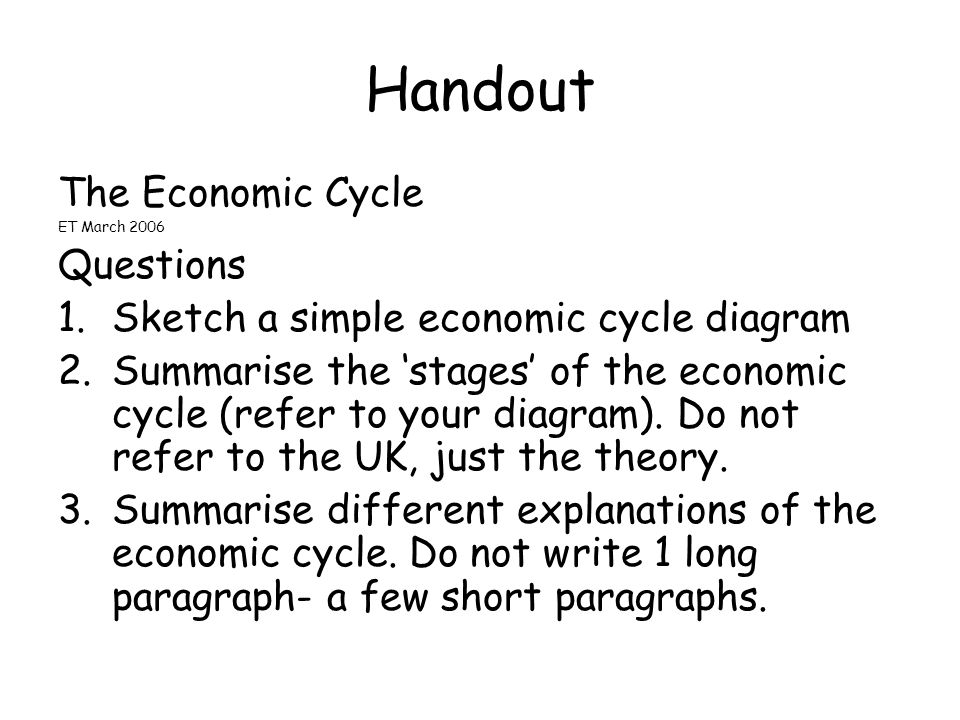 Handout The Economic Cycle Questions
