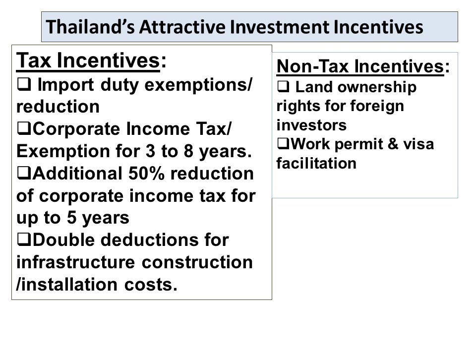 boi incentives to foreign investors Additional incentives for investment in the development of core technologies in which thailand has potential to enhance the country's overall competitiveness and industries.