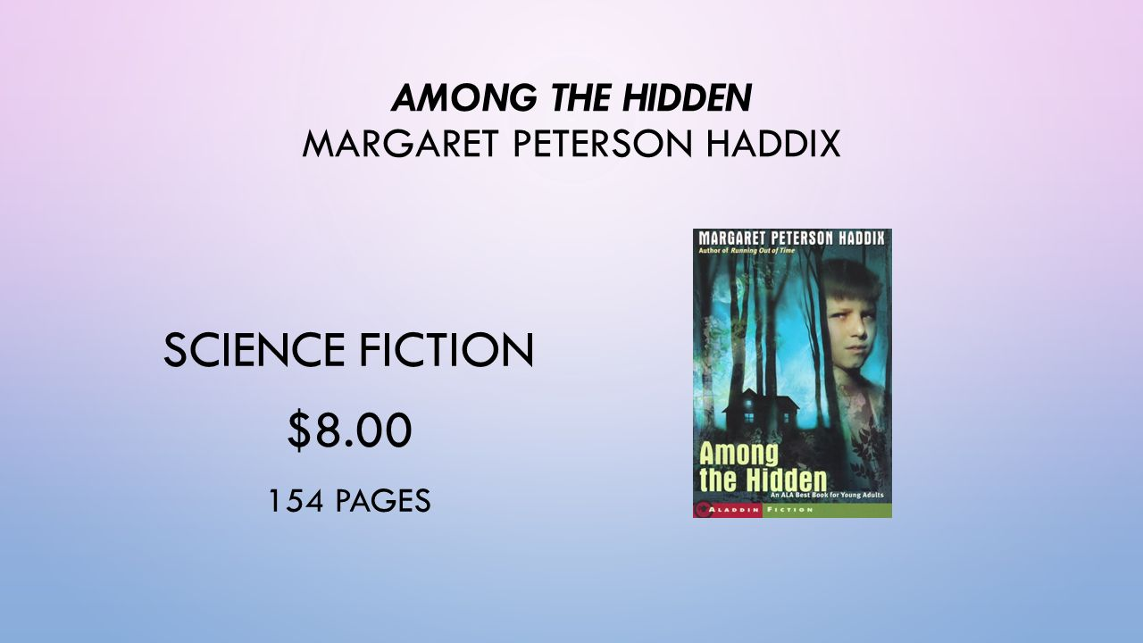 among the hidden summer reading essay This is a test for the novel, among the hidden, by margaret peterson haddix this novel is the first one in the shadow children series, and is appropriate for grades 4-8.