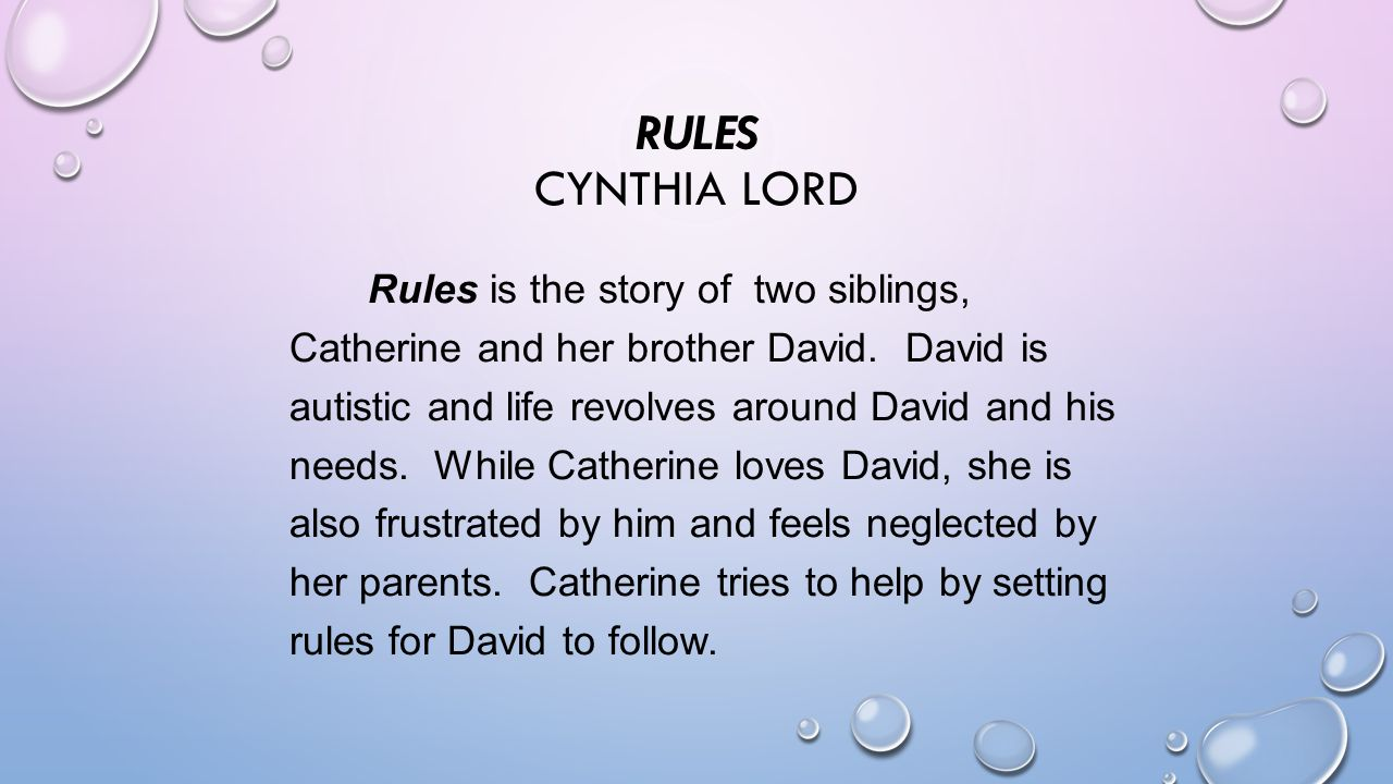 rules by cynthia lord Find great deals for rules by cynthia lord (2008, paperback) shop with confidence on ebay.