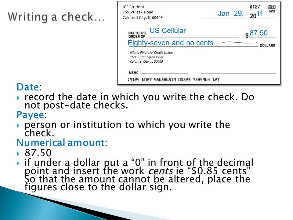 how to write a check with cents involved in cell