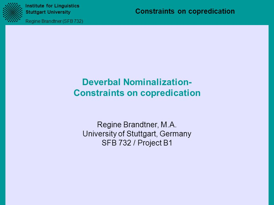 Deverbal Nominalization- Constraints on copredication