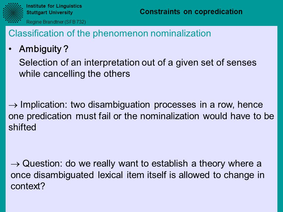 Classification of the phenomenon nominalization