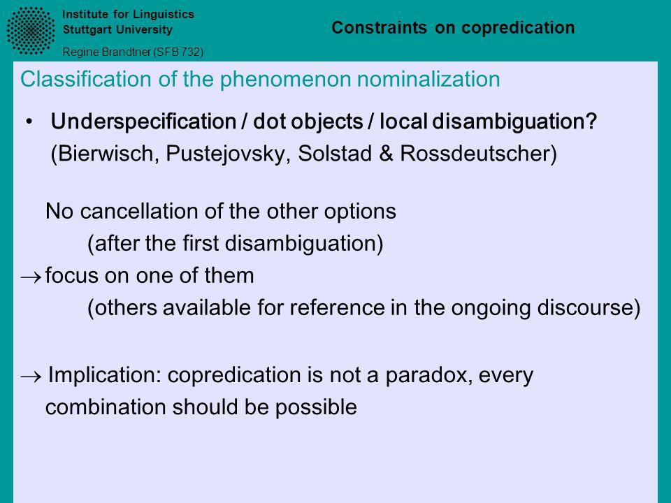 Classification of the phenomenon nominalization
