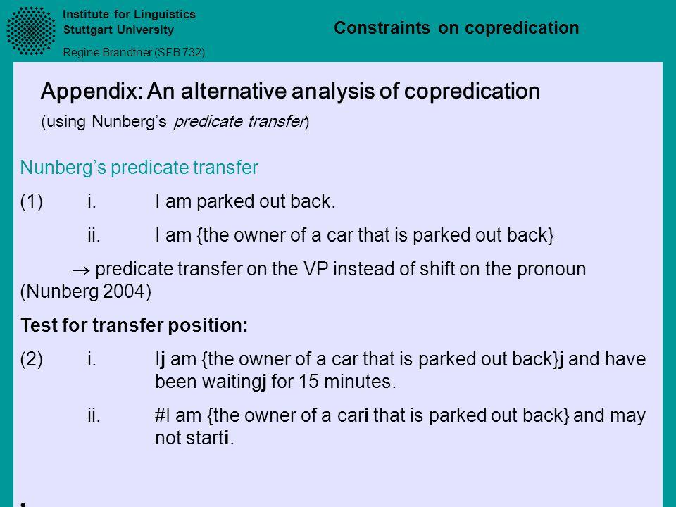 Appendix: An alternative analysis of copredication