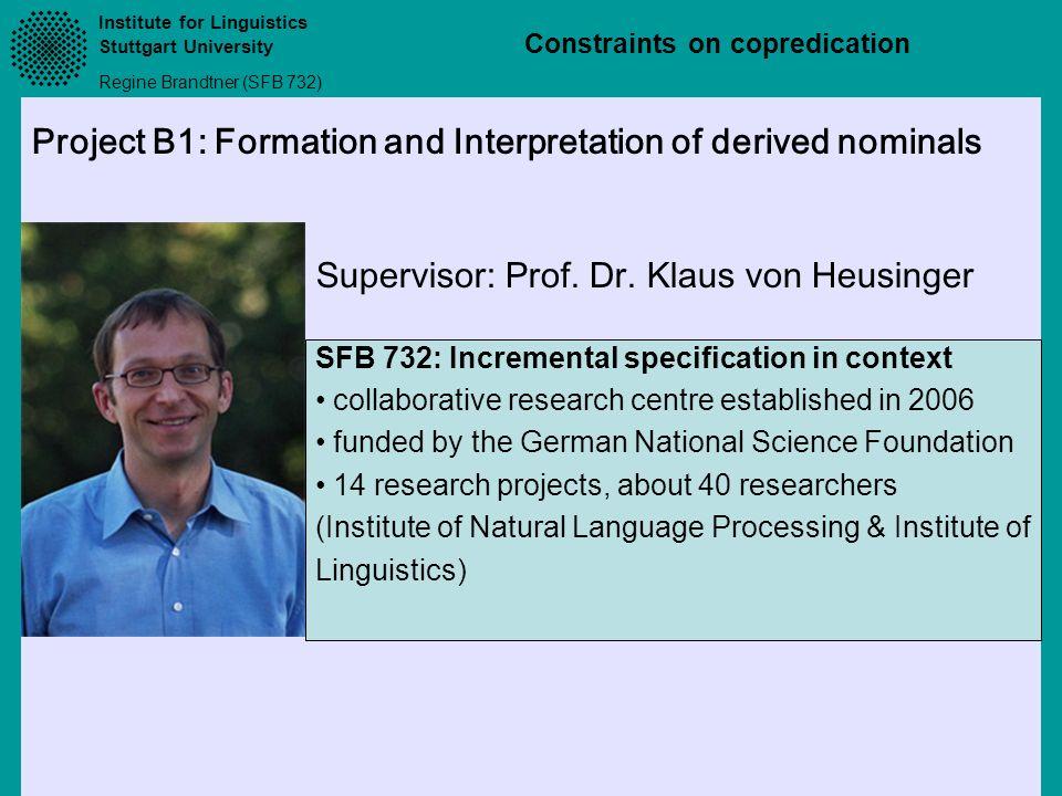Supervisor: Prof. Dr. Klaus von Heusinger