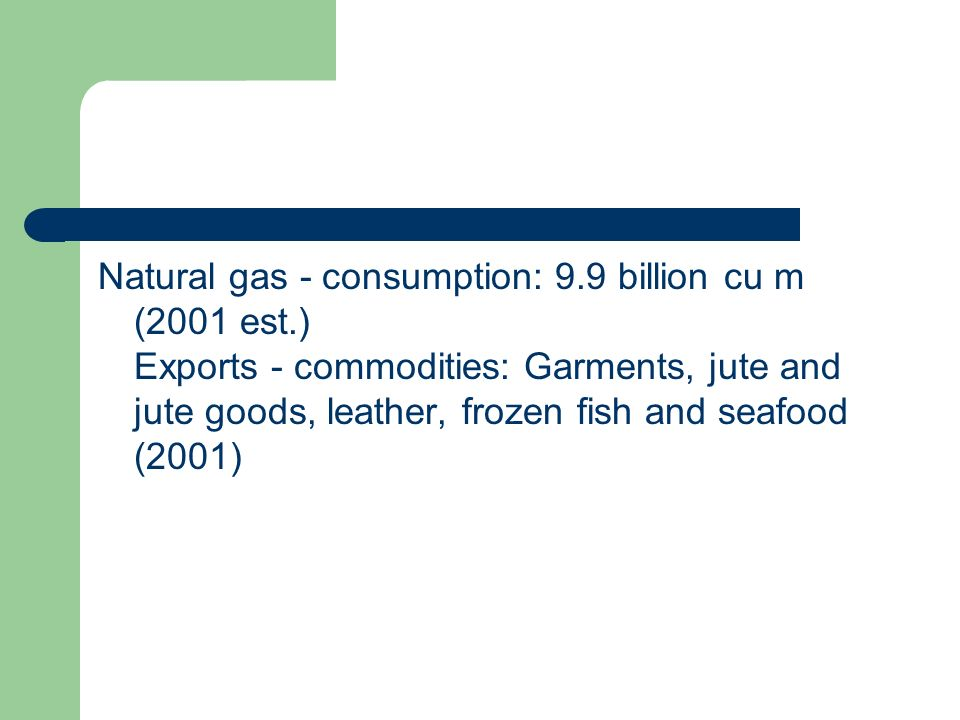 Natural gas - consumption: 9. 9 billion cu m (2001 est