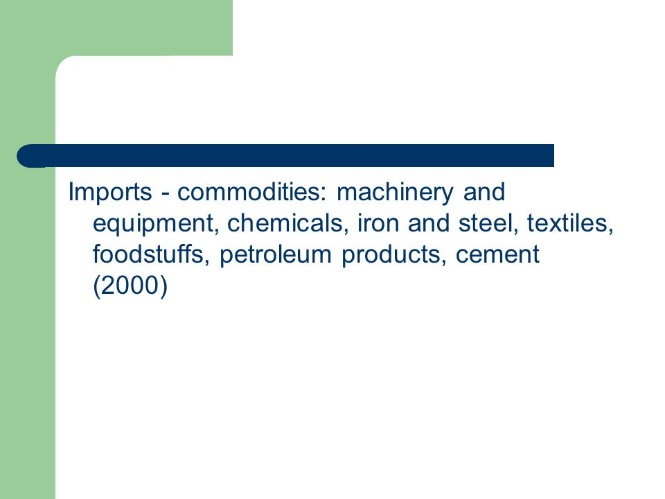 Imports - commodities: machinery and equipment, chemicals, iron and steel, textiles, foodstuffs, petroleum products, cement (2000)