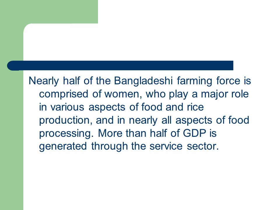 Nearly half of the Bangladeshi farming force is comprised of women, who play a major role in various aspects of food and rice production, and in nearly all aspects of food processing.