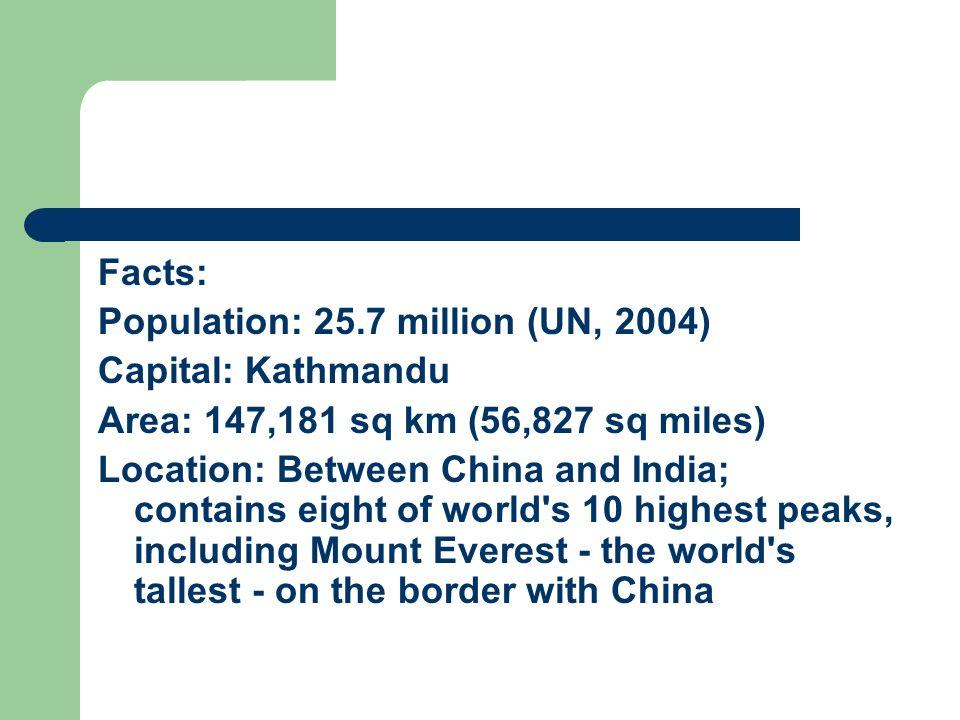 Facts: Population: 25.7 million (UN, 2004) Capital: Kathmandu. Area: 147,181 sq km (56,827 sq miles)