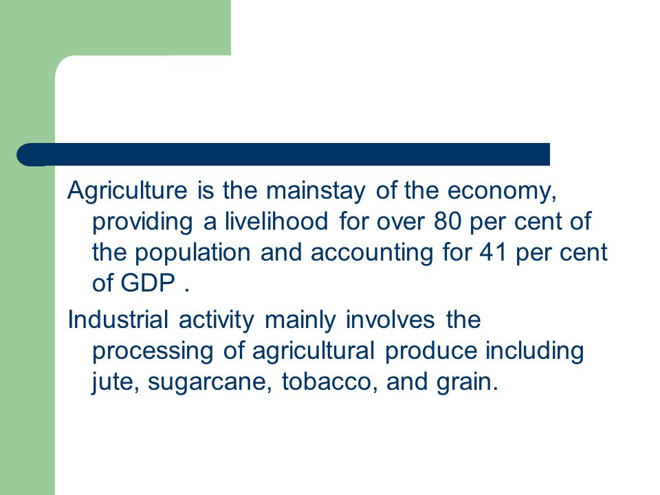 Agriculture is the mainstay of the economy, providing a livelihood for over 80 per cent of the population and accounting for 41 per cent of GDP .